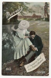 Proverbs. A Friend in Need is a Friend Indeed, lady, man. Welch PPC. Posted 1908