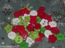 50  ASSORTED MIX RED/GREEN & WHITE RESIN BUTTONS 9 -15 MM# CRAFTS/ SCRAP