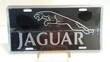 Jaguar License Plate Embossed Aluminum Black & Silver