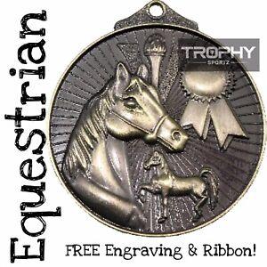 1x EQUESTRIAN medal Horse Premium GOLD trophy award 52mm FREE Engraving & Ribbon
