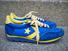 Vtg CONVERSE Blue & Yellow Low Top Leather Hipster Sneaker Shoes Kicks Men's 7