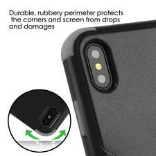 For iPhone X - Hard & Soft Hybrid Armor High Impact Skin Case Cover Black Gray