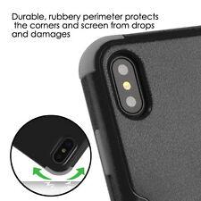 iPhone X / XS - Hard & Soft Hybrid Armor High Impact Skin Case Cover Black Gray