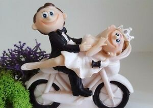 Cute Funny Humorous Bride Groom on Motorcycle Cute Couple Wedding Cake Topper