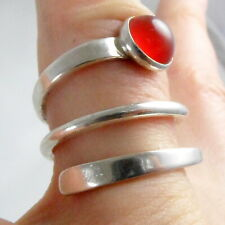 CII MEXICO  STERLING SILVER & RED CARNELIAN 3 BAND STACKER STYLE RING SIZE O