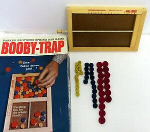 Vintage 1965 Parker Brothers Boobie Trap Spring Bar Action Game Wood Pieces
