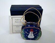 KELVIN CHEN Enamel Miniature Hinged Box PURSE Snowman EP016