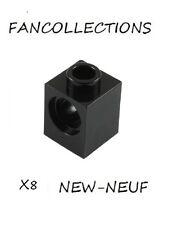 LEGO x 8 - Black Technic, Brick 1x1 with Hole - 6541 NEUF