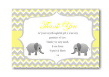 10 Personalised Thank You Cards Yellow Baby Shower , Gifts Birthdays Ect RefBST1