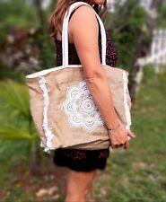 Cabas panier Sac à main Toile de jute Ethnique Vintage sac de plage fleur