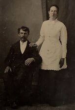 ANTIQUE AMERICAN Young Married Couple TINTYPE PHOTO