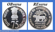"2010 COMMEMORATIVE SILVER COIN 75 RUPEE ""75 YEARS RESERVE BANK OF INDIA"""