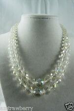 "Vintage Sterling Silver Aurora Borealis Crystal 2 strand choker Necklace 16"""