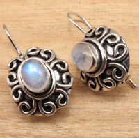ETHNIC , VINTAGE, DESIGNER JEWELRY Natural MOONSTONE EARRINGS, 925 Silver Plated