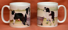 BORDER COLLIE DOG MUG OFF TO THE DOG SHOW WATERCOLOUR PRINT SANDRA COEN ARTIST
