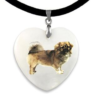 Tibetan Spaniel Dog Natural Mother Of Pearl Heart Pendant Necklace Chain PP200