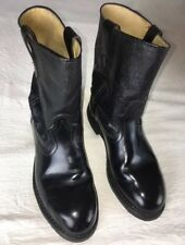 Iron Age Steel Toe Boots Mens 6D Black Leather Work Biker Pull On Crackle VTG US