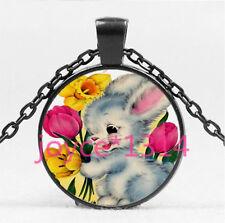 Vintage Flower Rabbit Cabochon black Glass Chain Pendant Necklace HS-5613