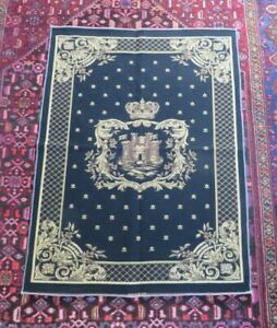 HERALDIC BLACK ROYAL CROWN & CASTLE TAPESTRY UPHOLSTERY FABRIC MATERIAL