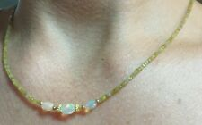 14ct genuine canary yellow diamond and Ethiopian fire Opal necklace solid 14k
