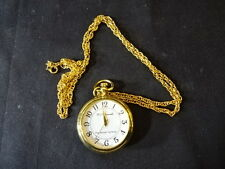 """MJ Hummel """"Ring Around The Rosie"""" Gold Tone Pocket Watch With Chain Necklace"""