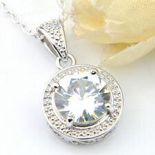 Classical Round Style Natural White Fire Topaz Platinum Plated Necklace Pendants