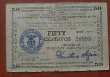 Philippines currency / money emergency circulating note 1944 Mindanao 50 cent.