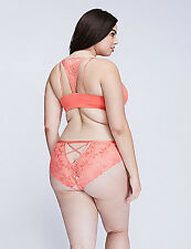 LANE BRYANT CACIQUE POINSETTIA LACE STRAPPY BACK CHEEKY PANTY 14-16 Coral