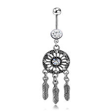 1PC New Dream Catcher Crystal Barbells Navel Belly Bar Button Ring Body Piercing