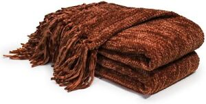 Thick Fluffy Chenille Knitted Throw Blanket Decorative Fringe Striped Sofa Bed