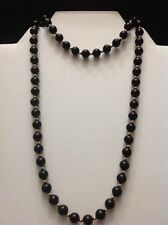 "GSJ 14k Solid Yellow Gold & Onyx Ball Bead Necklace 29"" Vtg Estate Jewelry MIB"