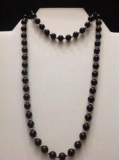 "GSJ 14k Solid Yellow Gold & Onyx Ball Bead Necklace 29"" Vtg Estate Jewelry MIB"