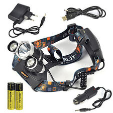 Boruit 40w 13000lm 3*xm-l T6 LED Lampe frontale Chasse Headlight Torch 18650 Cha