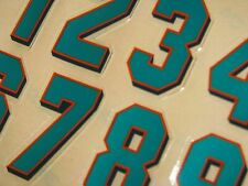 Miami Dolphins 2000 Football Helmet Numbers Decals #0-9 Full Size 3M 20Mil