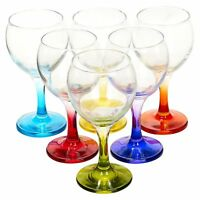 Coloured 6pc Set 210ml Cocktail Stem Wine Glasses Red White Wedding Dinner Party
