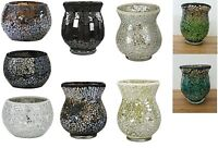 NEW Sparkle Mosaic Cup Storm Hurricane Tealight Holder Tea Light Candle Holder