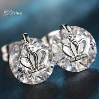 18k white gold gf clear crystal girl womens ladies stud earrings crown round 4ct