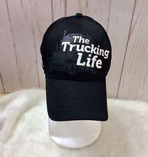 Mens Black Baseball Cap The Trucking Life Adjustable