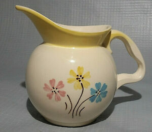 Vintage Hull USA 29 32oz Ceramic Pitcher Yellow Rim with Pink Yellow Blue Flowes