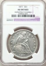 1871 Seated Liberty Silver Dollar NGC AU Details About Uncirculated Type Coin