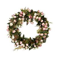 Christmas Flower Wreath Rose Garland With Elegant Best For Home Wall Door  H7K0