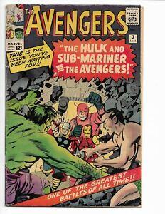 AVENGERS 3 - VG+ 4.5 - SUB-MARINER - SPIDER-MAN - 1ST X-MEN CROSSOVER (1964)