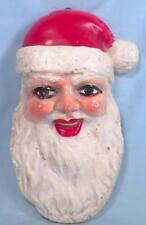 Santa Claus Head Chalkware Wall Plaque Hanging Vintage Christmas Decoration Neat