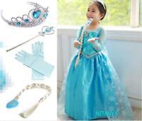 Hot ! Frozen Dresses Princess Anna Elsa Queen Girls Cosplay Costume Party Dress