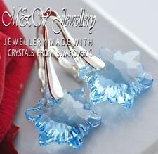 925 SILVER EARRINGS CRYSTALS FROM SWAROVSKI® 14MM EDELWEISS FLOWER - AQUAMARINE