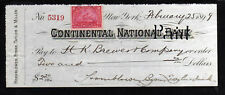 R494 - 1899 CONTENENTAL NATIONAL BANK - NEW YORK
