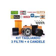 Kit tagliando 3 filtri + 4 candele FIAT PANDA I (141) 1.1 ie dal 2000 al 2003
