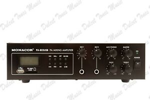 MONACOR 30w Mono PA Mixing Amplifier with Integrated SD/USB MP3 Player FAST POST