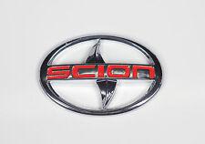 Scion Emblem Badge Sticker tC xA front Red letter Silver New large JDM