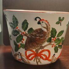 "New listing medium plant pots ceramic hand painted quails momma/chicks holly berries 6"" x 8"""